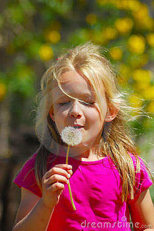 Free Girl Blowing Dandelion Stock Image - 6788191