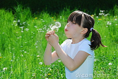 Girl Blowing Dandelion Seeds