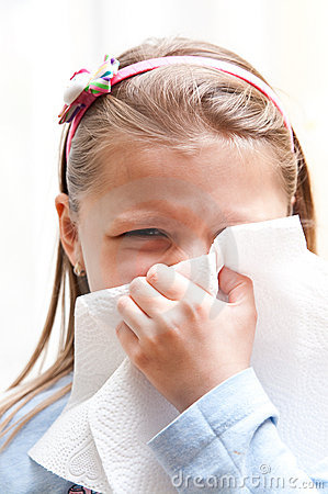 Girl Blowing Nose Royalty Free Stock Photos - Image: 14218288