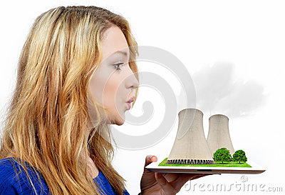 Girl blowing smoke from the nuclear power plant