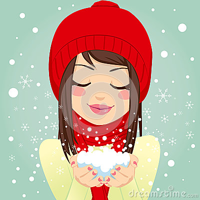 Free Girl Blowing Snowflakes Stock Photos - 35928363
