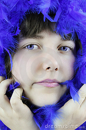 Girl With Blue Boa