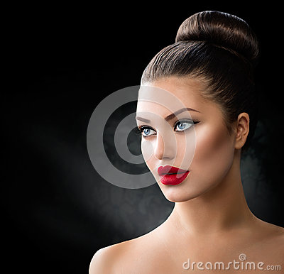 Girl with Blue Eyes and Sexy Red Lips