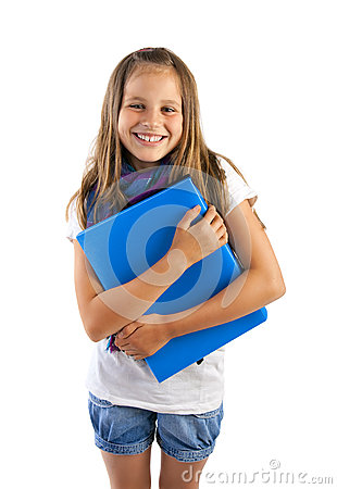 Girl with blue folder