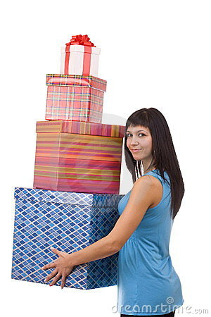 Girl in blue with group gift box