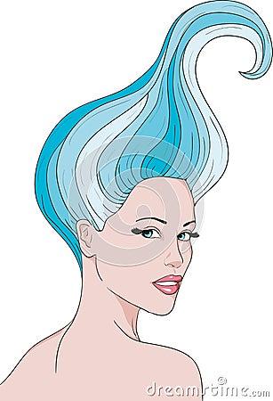 Girl with a blue hair