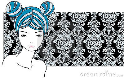 Girl with blue hairs