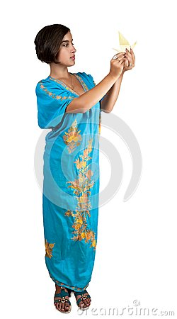 Girl in blue indian dress