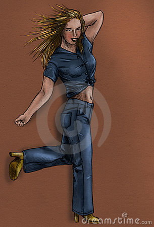 Girl in blue jeans - sketch