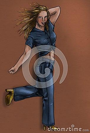 Girl in blue jeans - sketch