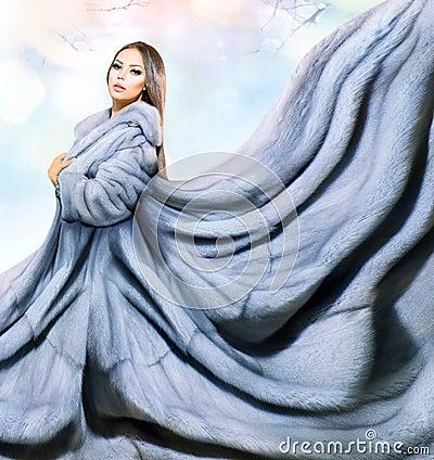 Girl in Blue Mink Fur Coat