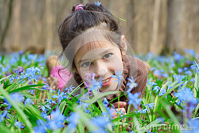 Girl among the bluebells