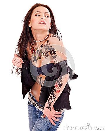 Girl with body art.