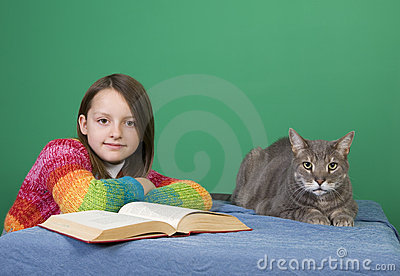Girl, Book and Cat