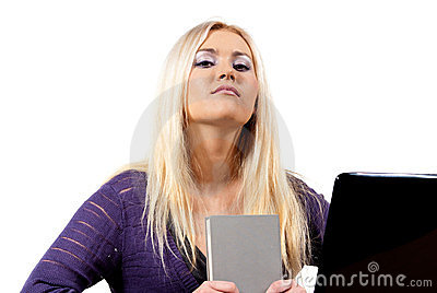 Girl with book and laptop