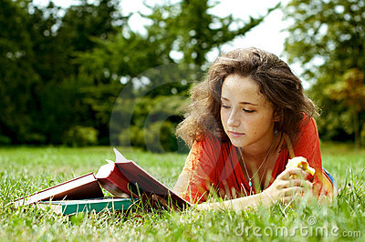 The Girl With Books Stock Photo - Image: 16357210