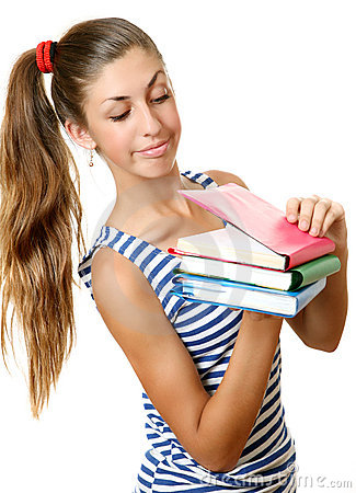 The girl with books