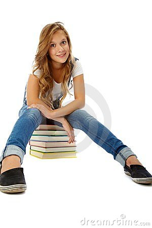 Girl on books