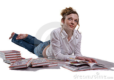 Girl among books, isolated on white background.