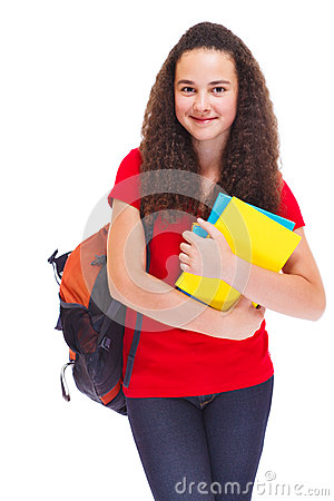 Girl with books and school backpack