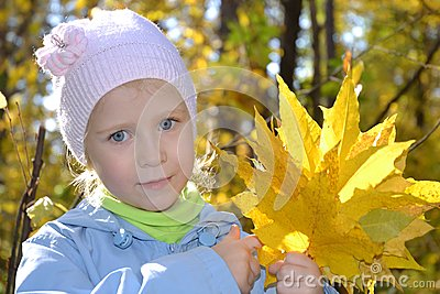 The girl with a bouquet of maple leaves in autumn park