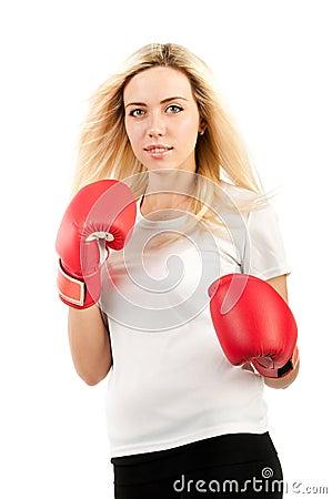 Girl boxer in red gloves
