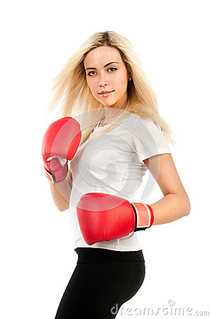 Girl boxer in a white t-shirt