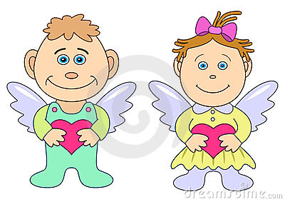 Girl and boy angels with hearts