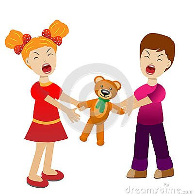 Girl and boy divide a toy bear cry Vector Illustration