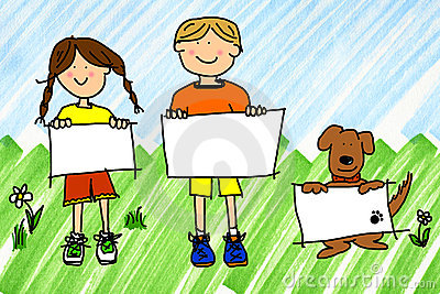 Girl, boy and dog with signs on ink blots