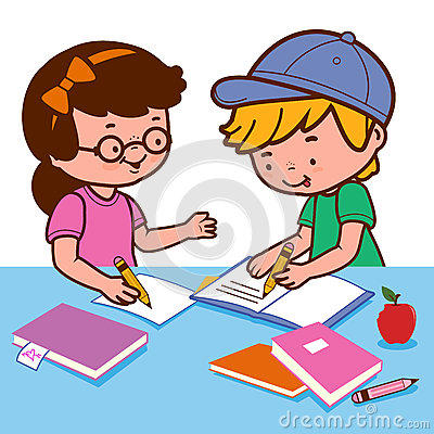 Girl And Boy Doing Homework Stock Vector Image 65572075