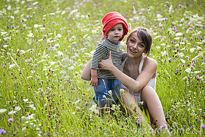 Girl and boy in field