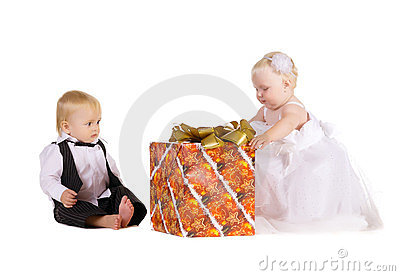 Girl and boy  with a great gift