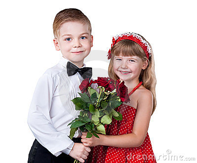 Girl and boy greeting with flowers isolated