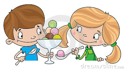Girl and boy with ice cream