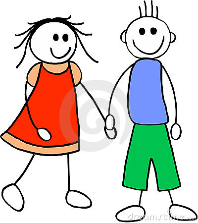 Girl and boy. illustration