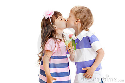 Girl and boy are kissing with ice cream in hands