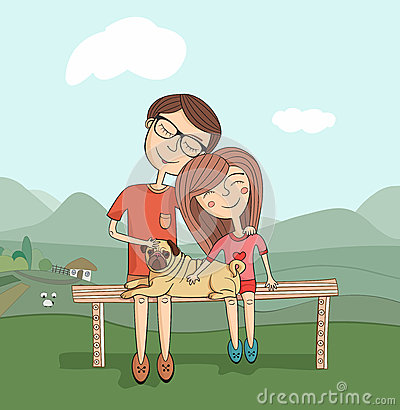 Girl and boy with mops