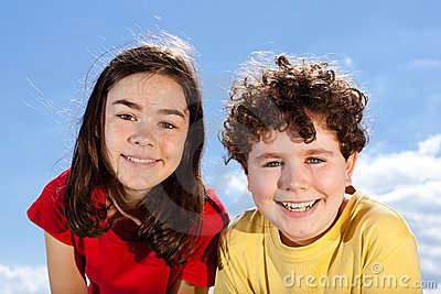 Girl and boy outdoor