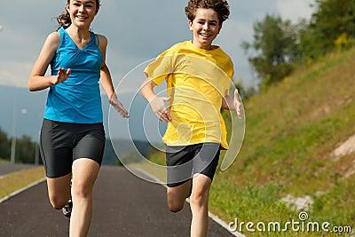 Kids running, jumping outdoor