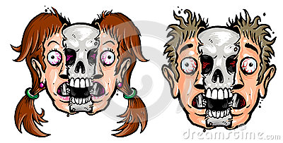 Girl and boy s face with skull