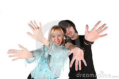 Girl and boy show gestures by hands