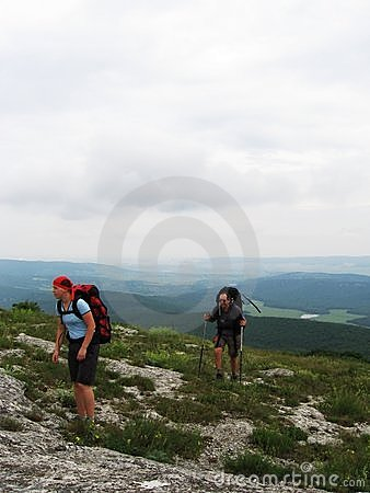 Girl and boy to backpacking