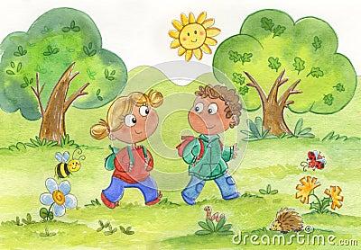 Girl and boy walking