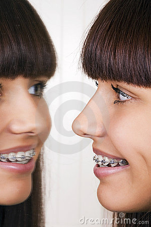 Girl with braces.