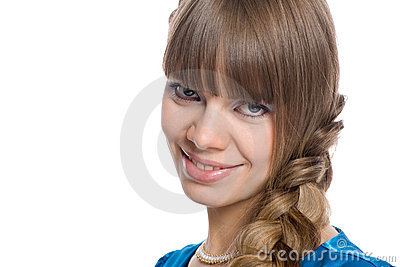 Girl with braided hair in a braid