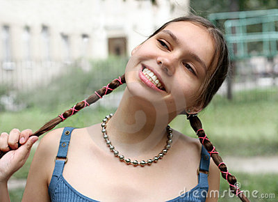 Girl with braids smiling
