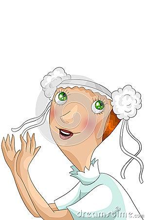 Girl bride character cartoon style  illustration white