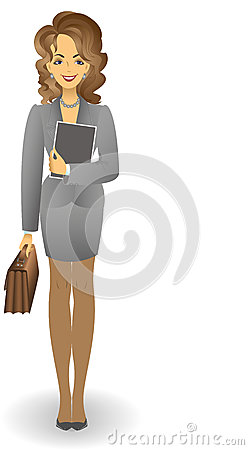 Girl with a briefcase in a gray suit