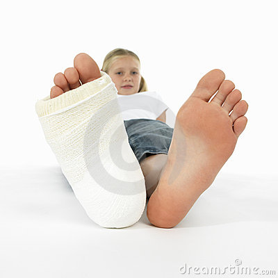 Girl with a broken leg